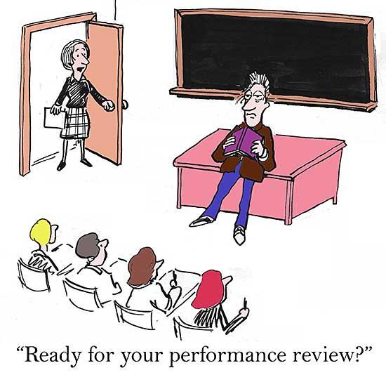 Comiczeichnung mit einem Lehrer vor der Klasse und einer Kollegin, die zur Tür hineinkommt.