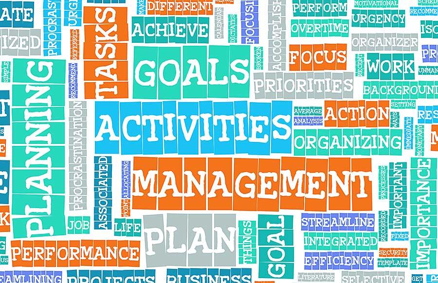 Verschiedene Wörter zum Thema Aufgabenanagement in einer Wortcollage