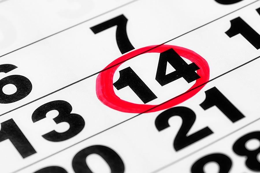 Kalenderblatt mir rot markiertem Termin