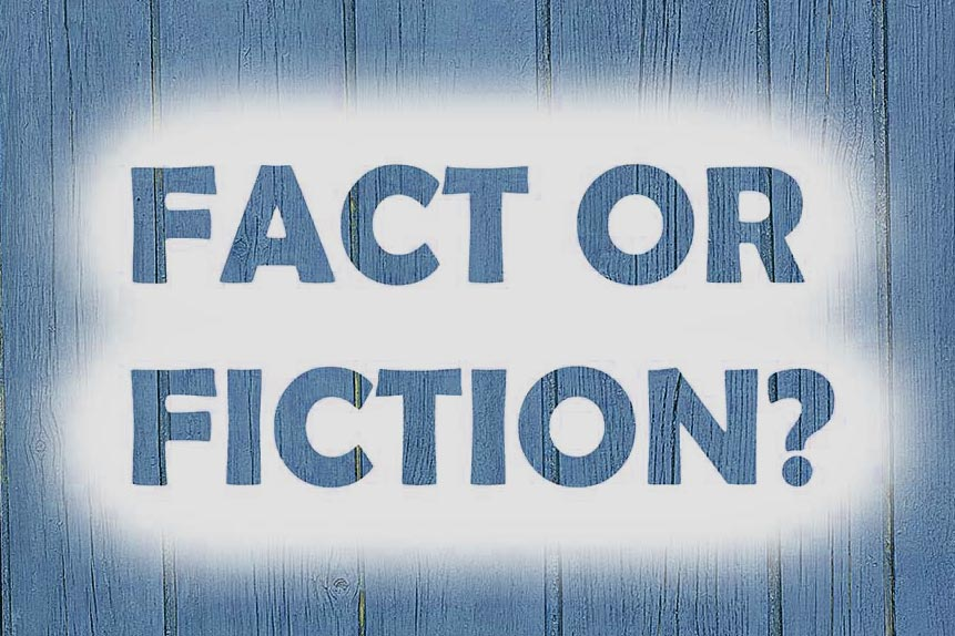 "Schriftzug ""FACT OR FICTION?"" auf holzartigem Hintergrund"