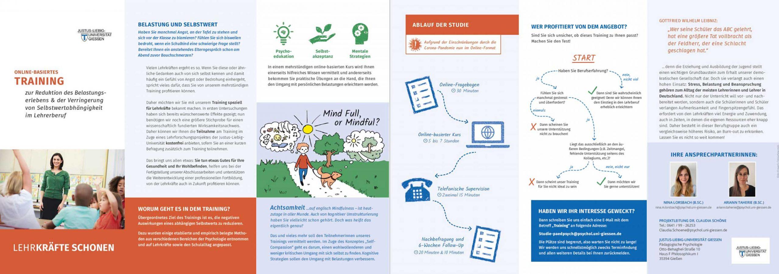 """Grafik des Flyers des Programms """"Lehrkräfte schonen"""" mit Einzelheiten zum Programm"""