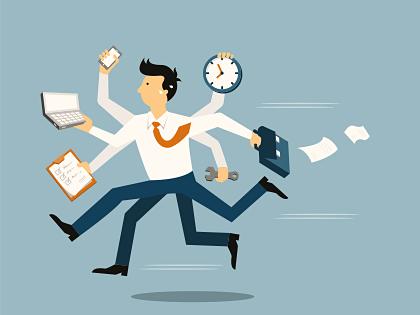 Vektorgrafik eines Mannes im Stress mit Aktentasche, Uhr und Terminkalender