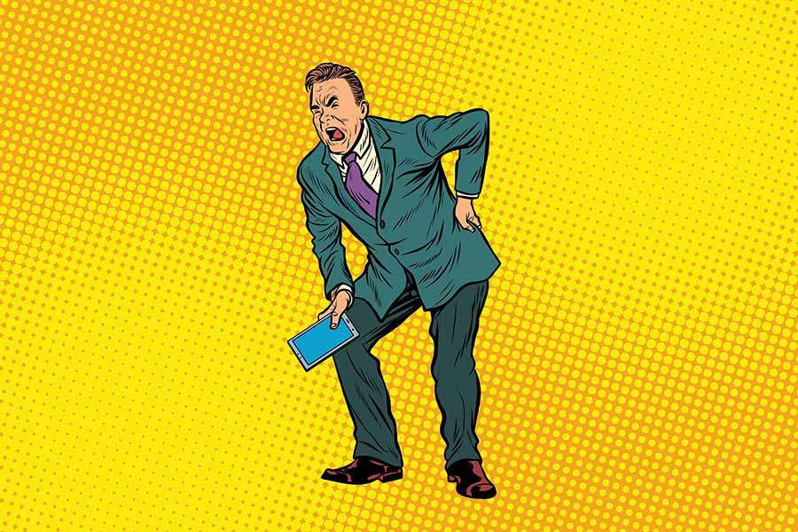 Comicfigur eines Mannes mit Rückenschmerzen