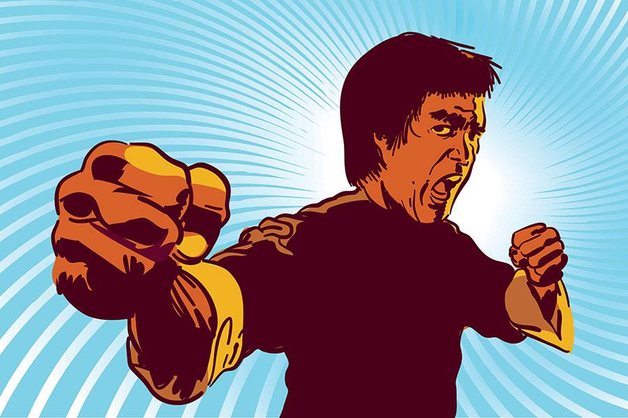 Grafik von Bruce Lee in Kampfhaltung