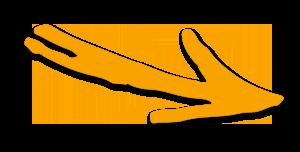 Orangener Pfeil auf transparentem Hintergrund