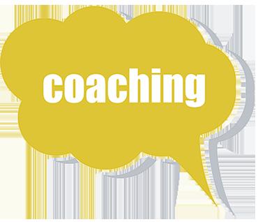 """Schriftzug """"coaching"""" in einer Sprechblase"""