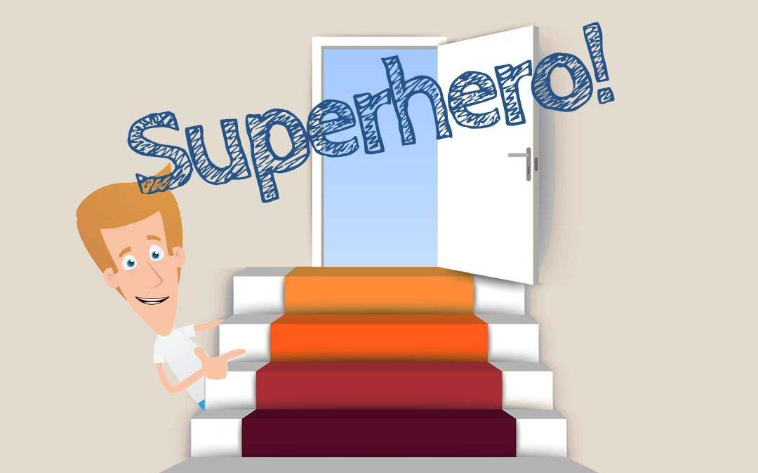 """Farbige Treppenstufen mit einer Tür im Hintergrund, einer Comicfigur und dem Schriftzug """"Superhero"""""""