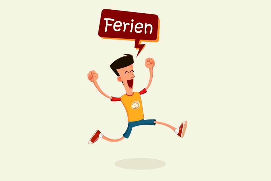 Comicfigur mit Sprechblase und Text Ferien vor einfarbigem Hintergrund